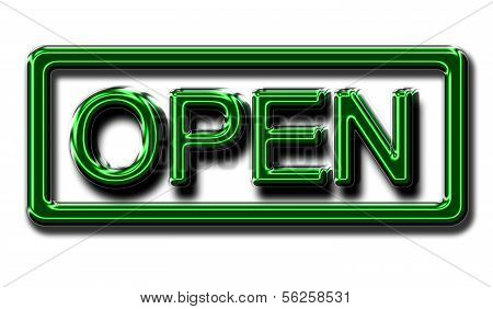 An Open Sign With Surround In Glowing Green