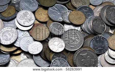 view on a pile of coins