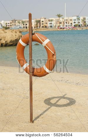 Life Ring On A Tropical Beach