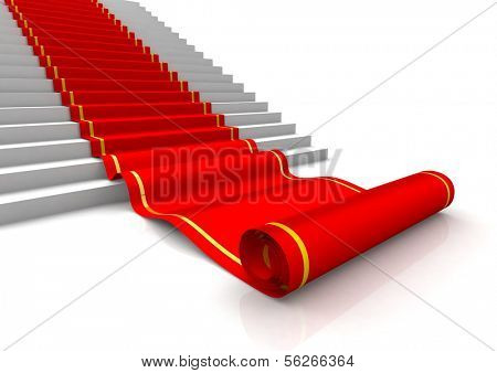 Red carpet unrolling. 3d illustration