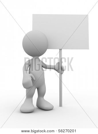 3d human with blank billboard. 3d illustration