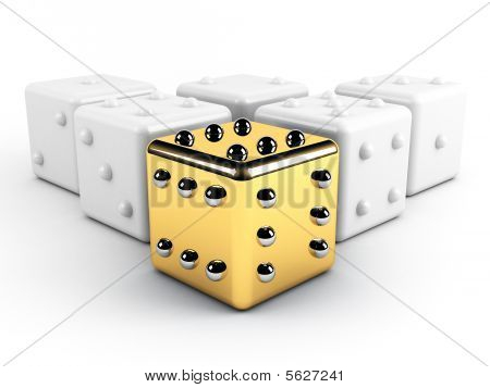 Gold Dice Winning Leadership Concept