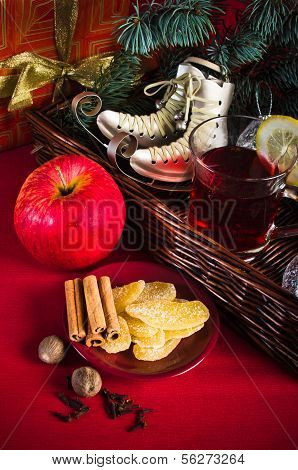Christmas Still Life With Hot Wine And Spices