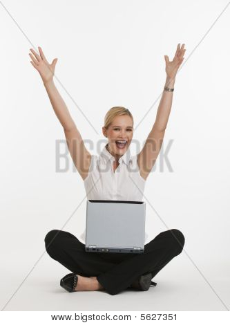 Woman Excited About Being On Computer