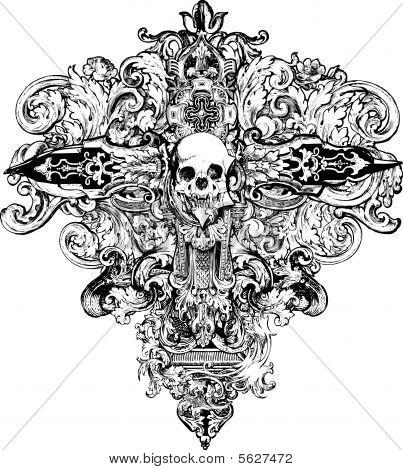 Cruz cráneo ilustración
