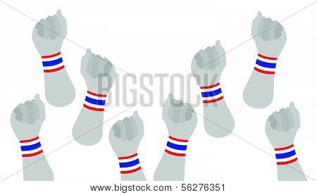 Human Hands Clenched Fist With Thai Wristband