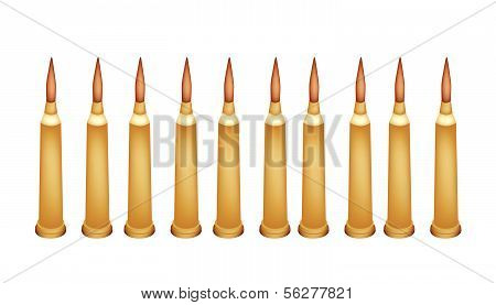 Set Of Rifle Bullets On White Background