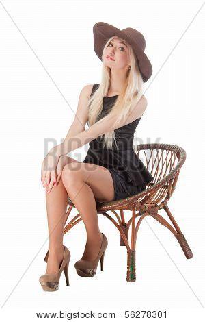 Cute Woman Sitting On Chair