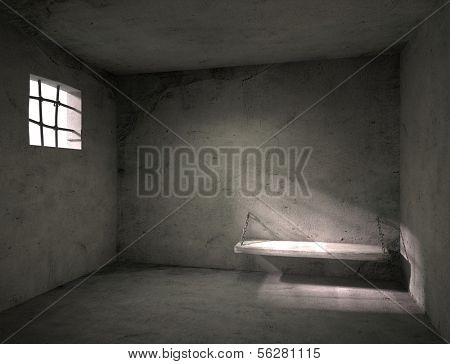 Prison. Old grunge interior. 3d illustration