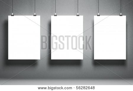 White blank poster on a grunge surface. Template for advertising or other images. 3d illustration