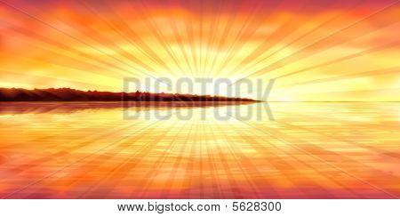 colorful Sonnenuntergang über eine Insel steinige Ozean