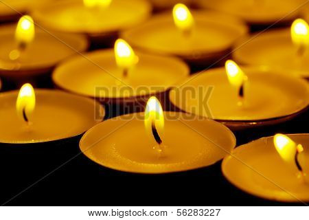 Tea Lights Candles With Fire