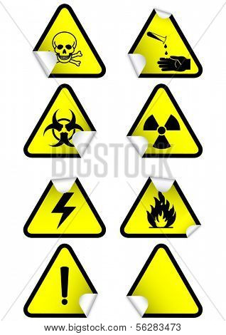 Vector illustration set of different hazmat warning signs. All vector objects and details are isolated and grouped. Colors and white background color are easy to adjust. Symbols are replaceable.