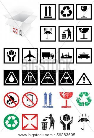 Vector illustration set of different packing symbols, e.g. fragile, recycle. All vector objects and details are isolated and grouped. Colors and transparent background are easy to adjust.