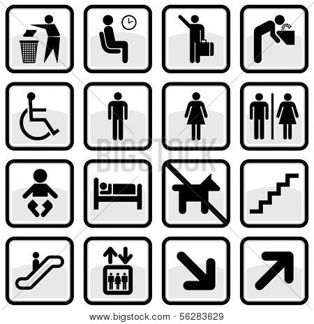 Vector set of international service signs. All objects and details are isolated and grouped. Color, background color and glare effect are easy to remove or adjust. Symbols are replaceable.