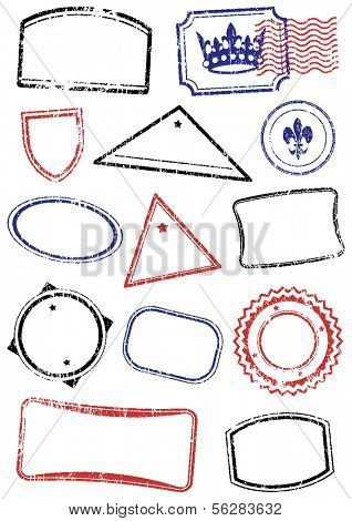 Vector set of different stamps. All objects and details are isolated and grouped. Stamps have a transparent background. They can overlap. Colors are easy to customize.