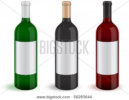 Illustration of three realistic wine bottles. All objects and details are isolated and grouped. Transparent background color is easy to customize.