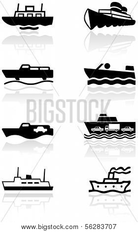 Vector set of different boat illustrations or symbols. All vector objects are isolated. Colors and transparent background color are easy to adjust.