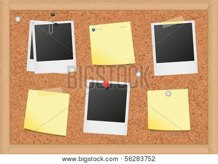 Vector illustration of bulletin board with blank notes and photos. All objects are isolated. Colors and transparent background color are easy to adjust.