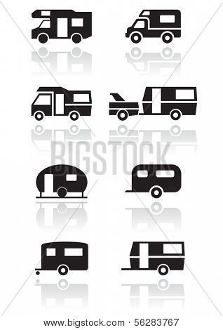 Caravan or camper van symbol vector illustration set. All vector objects are isolated and grouped. Colors and transparent background color are easy to adjust.