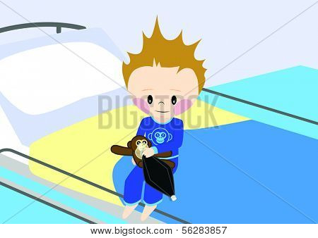 Illustration of a child getting prepared for surgery. All vector objects and details are isolated and grouped. This illustration is a part of a story about a child in hospital.