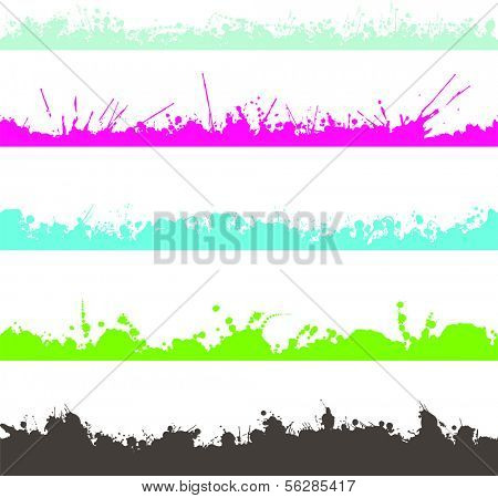 set of inkblots splashes
