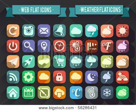 Set of Flat Icons for Web and Mobile Apps. Weather and Web icons
