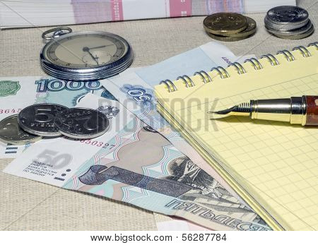 Pocket watches, notebook and money