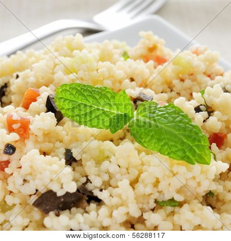 closeup of a plate with tabbouleh, a typical levantine arab salad