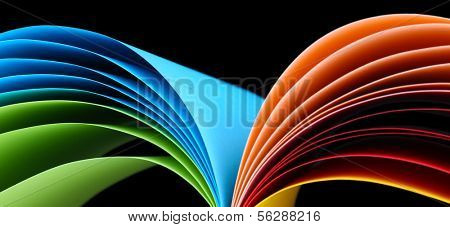 Colorful art paper on black background