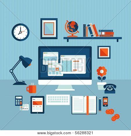 Flat design illustration concept of modern business workspace