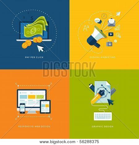 Conjunto de ícones de conceito design plano para aplicativos e serviços móveis e web