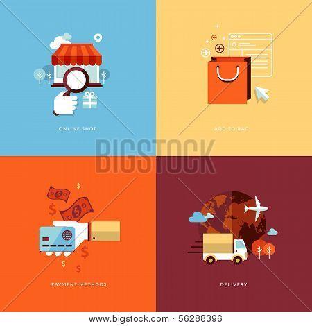 Conjunto de ícones de conceito design plano para compras on-line.