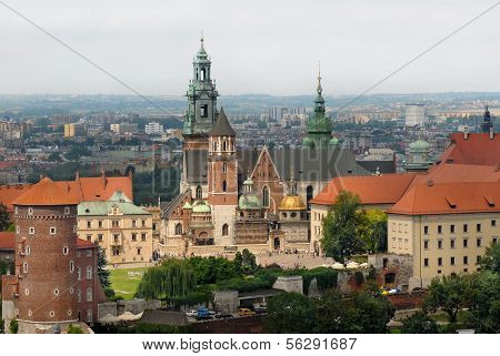 Wawel Castle in Krakow south Poland aerial view from baloon