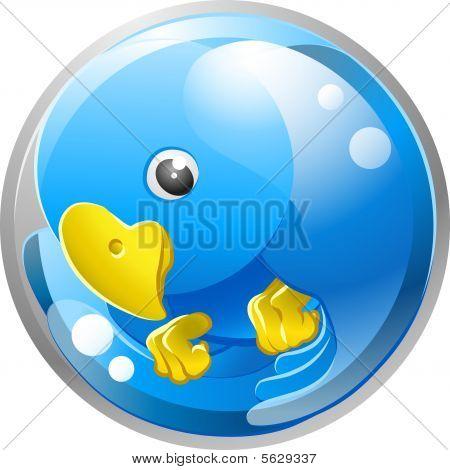 Blue bird ing icon illustration