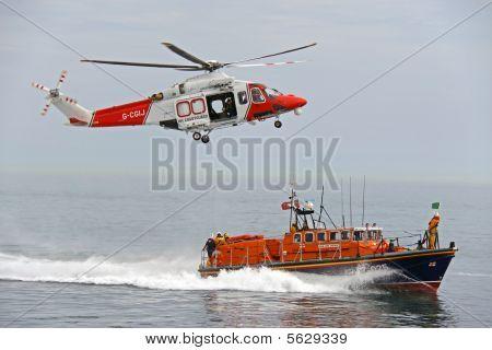 Lifeboat / life boat of the R.N.L.I. coastguard near Worthing, UK