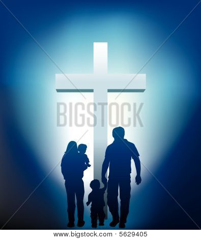 Christian Family Silhouette
