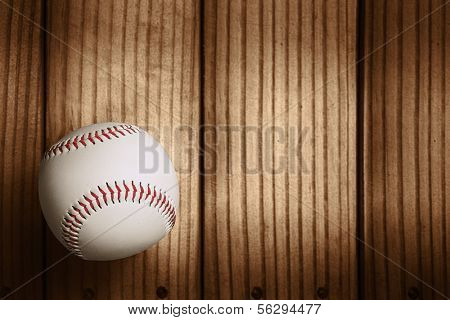 Baseball on wooden background