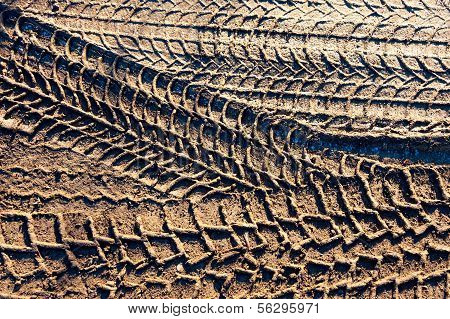 Wheel tracks on the soil