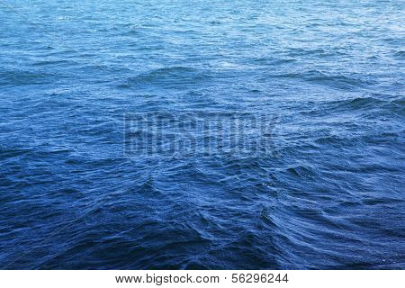Gentle ocean in strong wind. Micro ripples forming on the surface of the water