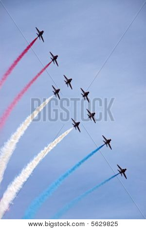The Red Arrows RAF Airforce aerobatic, formation flying jet aeroplanes