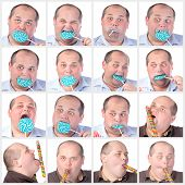 picture of fat-guts  - Collage portrait fat man eating a lollipop on white background - JPG