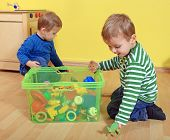 stock photo of day care center  - Cute european toddlers in kindergarten - JPG