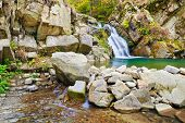 stock photo of pieniny  - The Zaskalnik waterfall in the Pieniny mountains - JPG