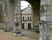stock photo of hacienda  - Unrestored hacienda with columns foreground in Yucatan Mexico - JPG
