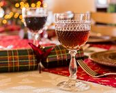 English Christmas Table With Sherry Glass