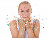 picture of scandinavian descent  - Attractive teenage girl having fun with confetti - JPG