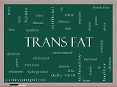 pic of trans  - Trans Fat Word Cloud Concept on a Blackboard with great terms such as grams diet unsaturated and more - JPG