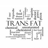 stock photo of trans  - Trans Fat Word Cloud Concept in black and white with great terms such as grams diet unsaturated and more - JPG