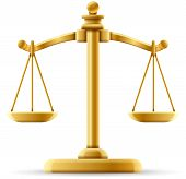 stock photo of justice  - Balanced scale of justice isolated on white with space for copy - JPG